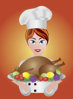 http://www.dreamstime.com/stock-image-woman-chef-roast-turkey-dinner-illustration-image26626681