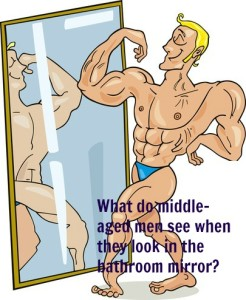 what does a middle aged man see in the bathroom mirror?