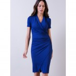 50plus style blue dress with sleeves