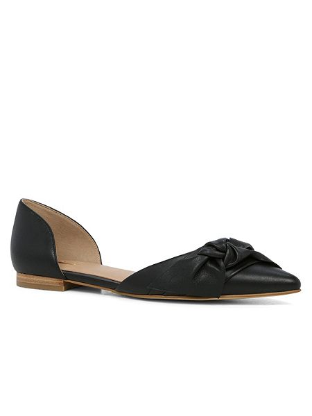 black pointed toe flat shoe image