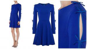 50 plus style dress with slashed sleeve