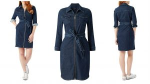 denim belted dress with sleeves