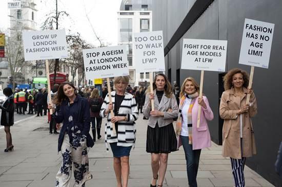 50 plus model protest London Fashion Week
