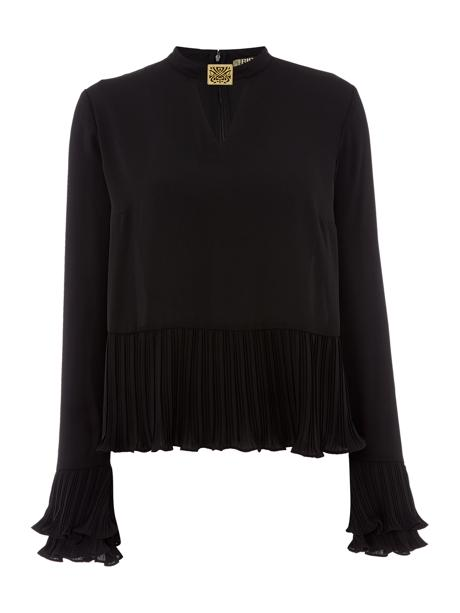 pleated long sleeved top image
