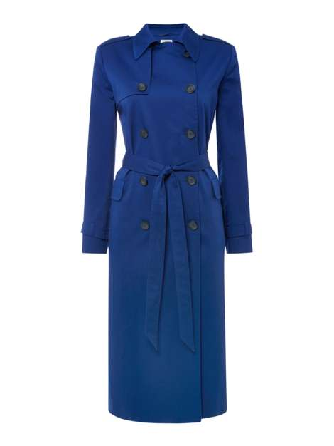 style over 50 cobalt blue trench coat