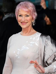 Helen Mirren with pink hair