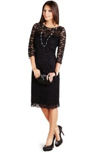 floral lace shift dress with sleeves image