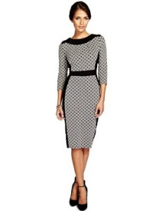 monochrome shift dress with sleeves