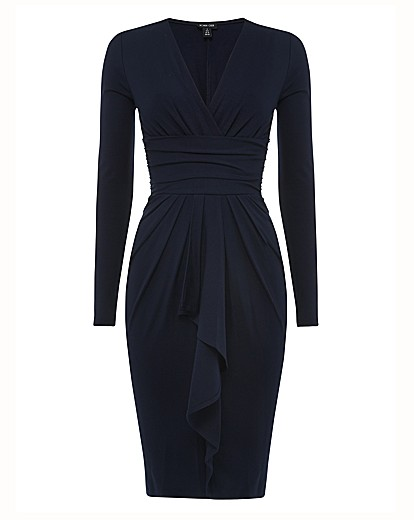 ronen chen  navy dress with sleeves image