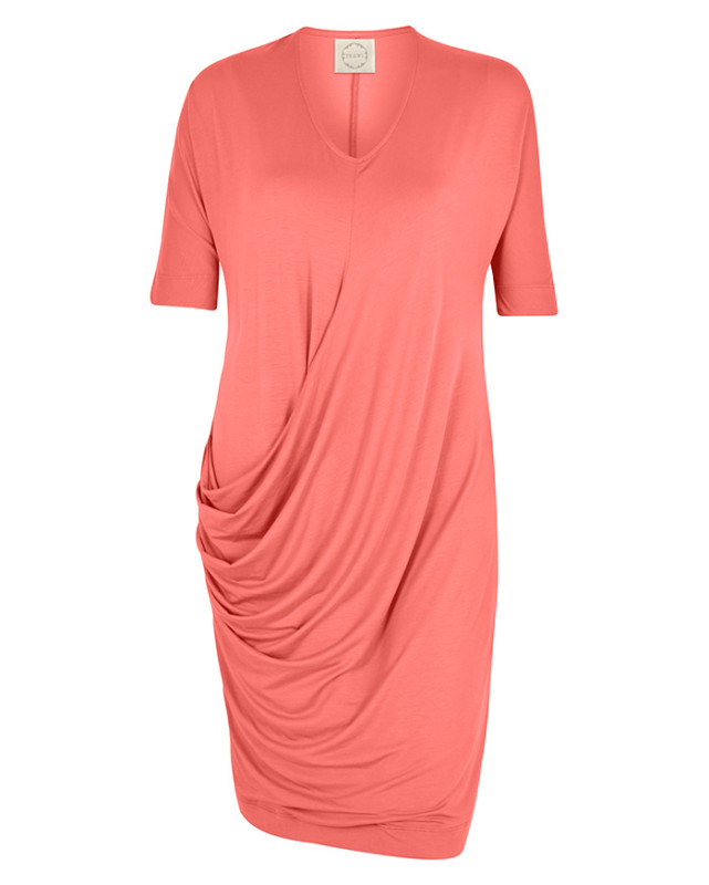 Isabi side drape dress coral