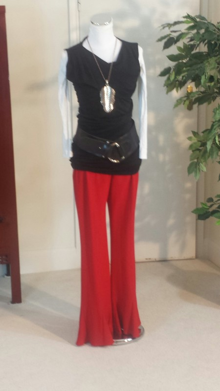 LBD worn with flared trousers