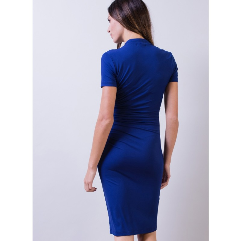cobalt dress with sleeves back