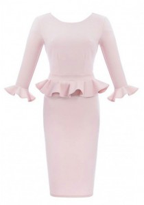 pink ruffle dress with sleeves