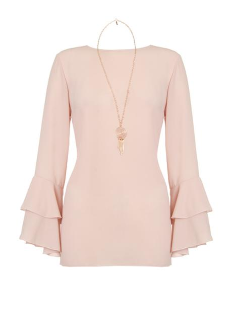 50 plus style pink top with sleeves image