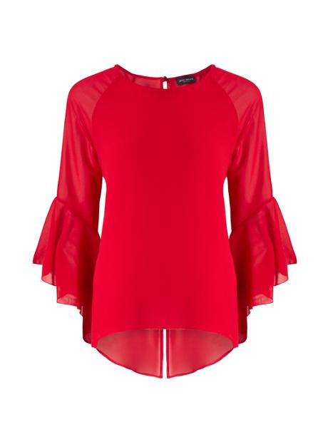 red fluted sleeve top