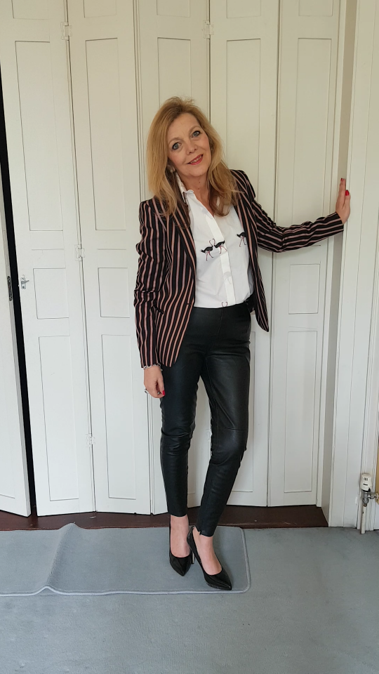 ovver 50 style striped blazer with lurex