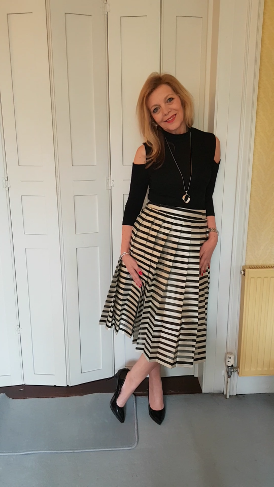 over 50 style striped skirt image