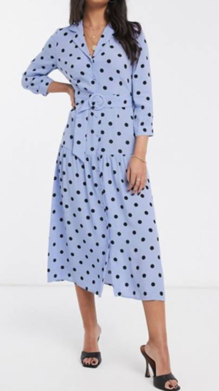 pale blue polka dot dress with sleeves