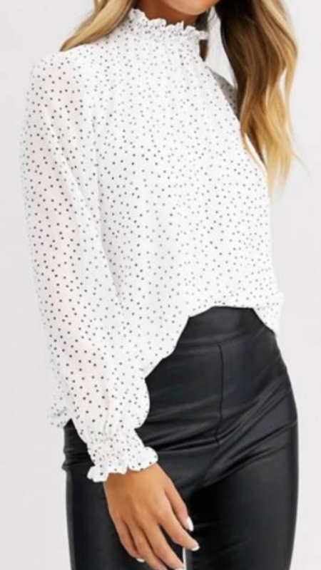 style over 50 frill neck polka dot blouse image