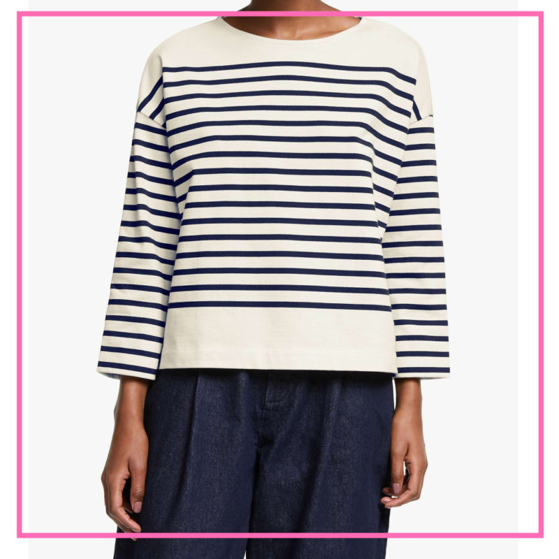 over 50 style drop shoulder breton top
