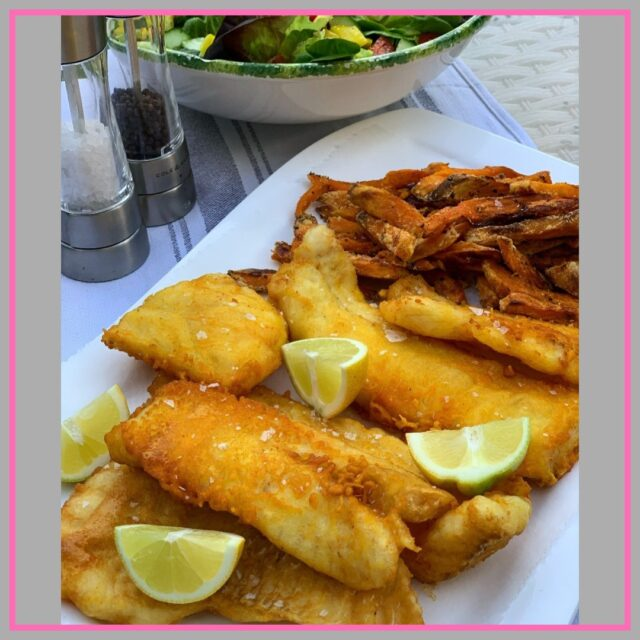 beer battered cod and sweet potato fries recipe image