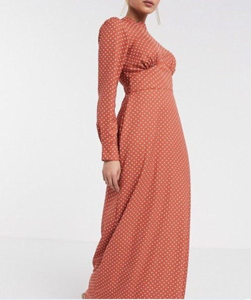 empire line long sleeved maxi dress for women over 50 image