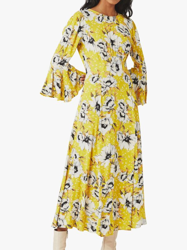 style over 50 yellow summer dress with sleeves