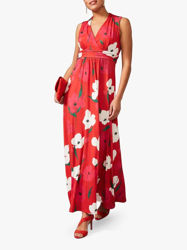 red maxi dress for women over 50 image