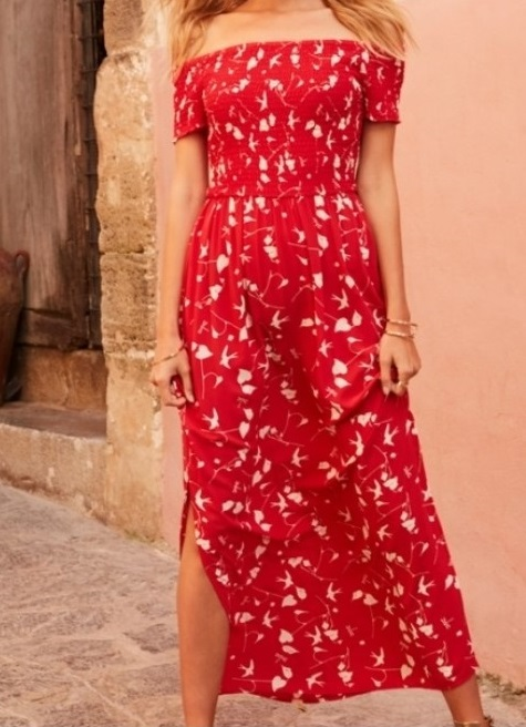 red maxi dress with sleeves for women over 50 image