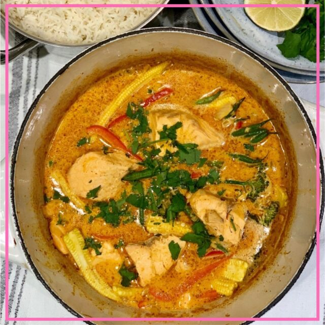 thai red salmon curry recipe image
