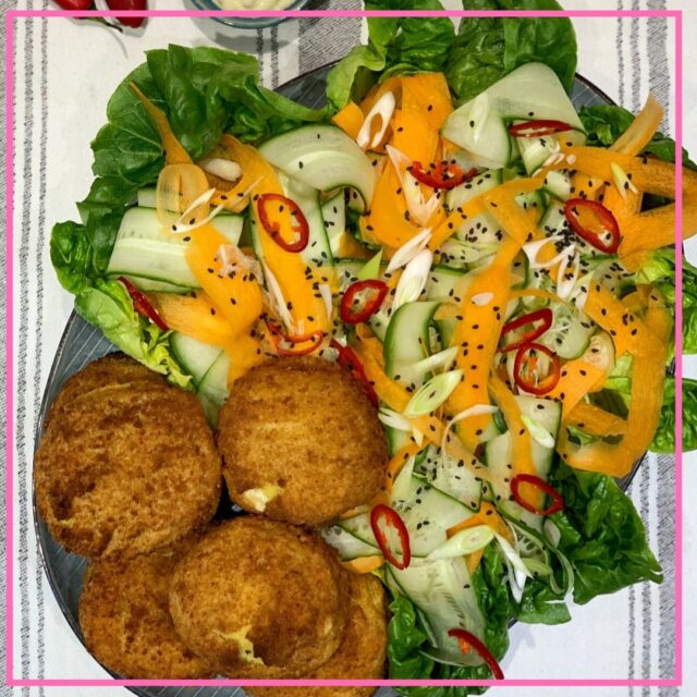 smoked haddock fishcakes and asian salad recipe image