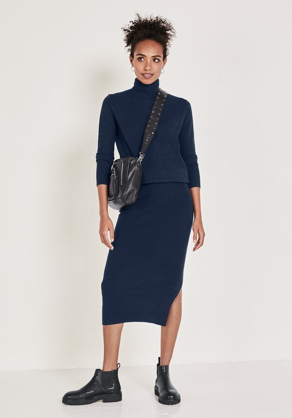 knitted roll neck dress style over 50 image