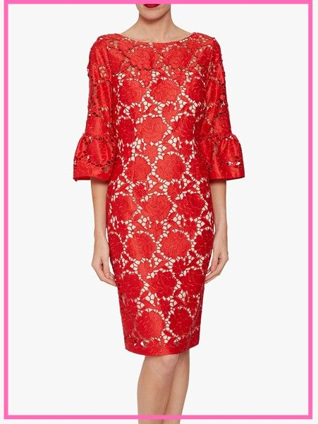 style over 50, red dress with fabulous sleeves image