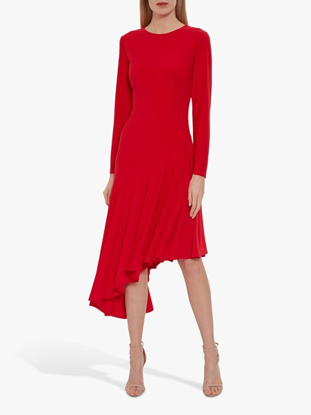 red dress with sleeves and assymetric hem style over 50 image