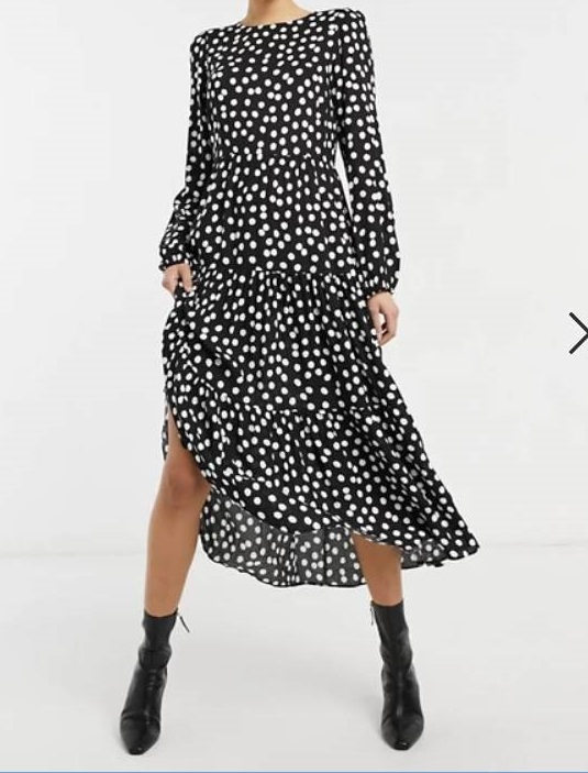 style over 50, monochrome long sleeved dress image